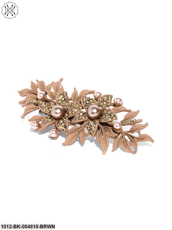 Priyaasi Matte Finish Stones And Pearls Studded Floral Brown Hair Clip