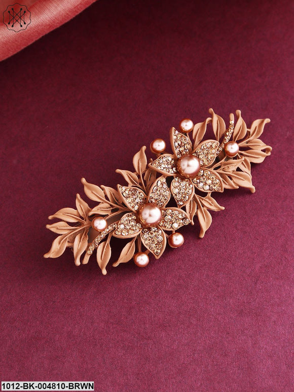 Priyaasi Brown Stone-Studded Matte Finish Floral Alligator Hair Clip