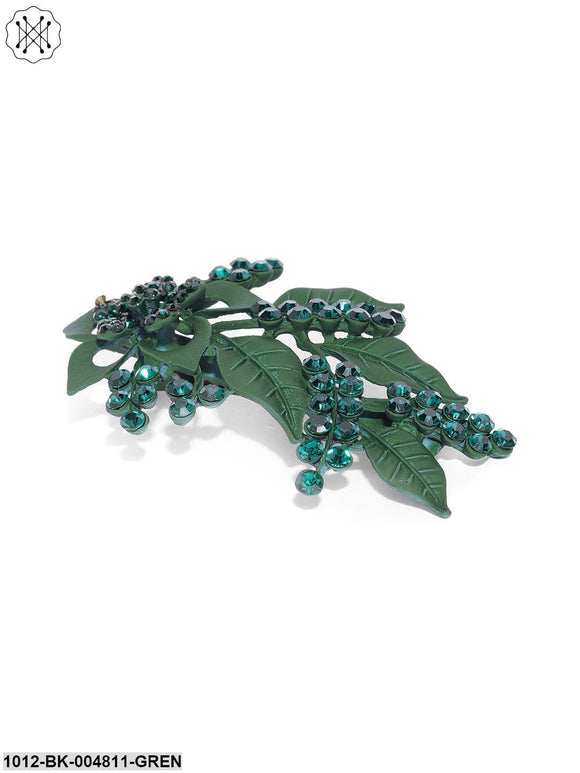 Priyaasi Matte Finish Stones Studded Floral And Leaf Dark Green Hair Clip