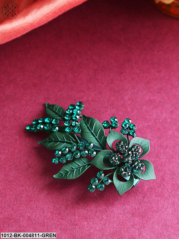 Priyaasi Green Stone-Studded Matte Finish Floral Alligator Hair Clip