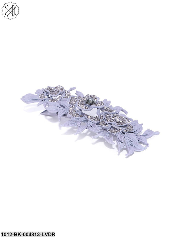 Priyaasi Matte Finish Stones Studded Floral And Leaf Lavender Colour Hair Clip