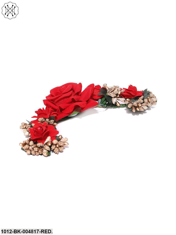 Priyaasi Artificial Red Rose Flower Handcrafted Fabric Gajra/Hair Bun Accessories