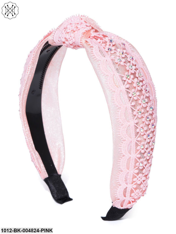 Prita Pink Coloured Cross Knot Floral Pattern Fabric And Plastic Hairband