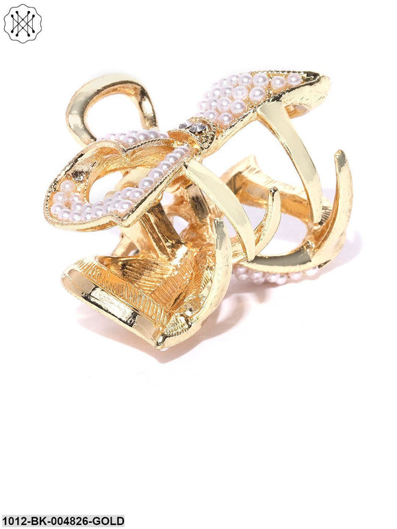 Priyaasi Gold-Toned Beaded Bow Shaped Claw Hair Clip