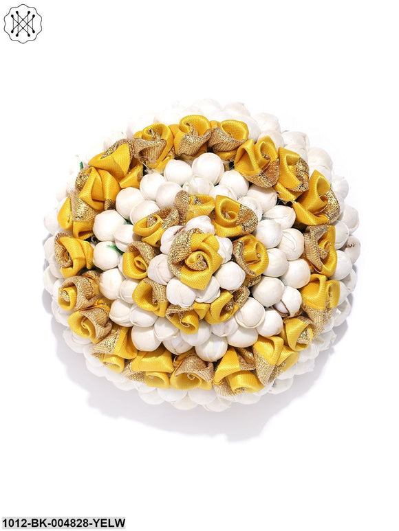 Priyaasi Artificial Yellow Rose And Off-White Buds Bun maker Hair Accessories
