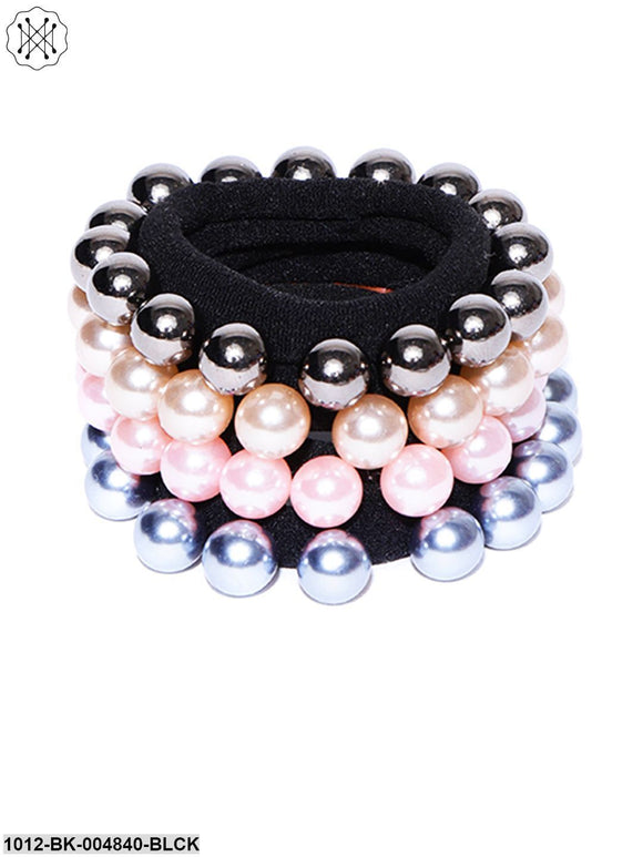 Prita Set Of 4 Black Rubber Band Decorated With Glossy Finish Multicolour Pearls
