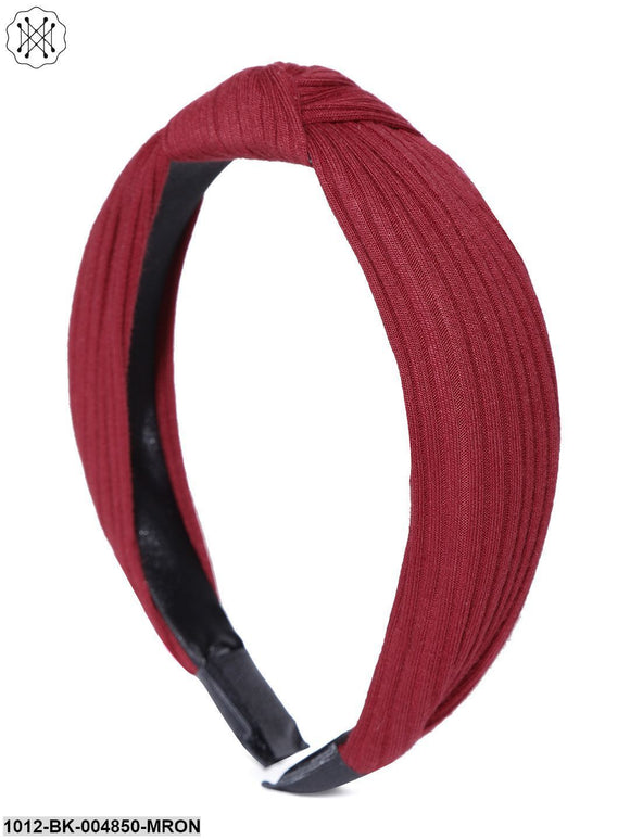 Prita Set Of 2 Cross Knot Design Maroon Colour Hairband