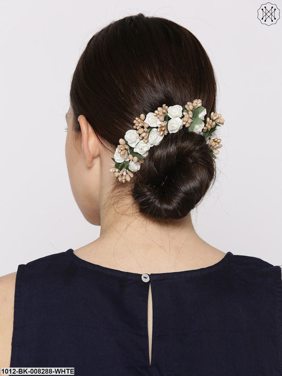 Priyaasi Women White & Rose Gold-Toned Beaded Floral Handcrafted Hair Accessory