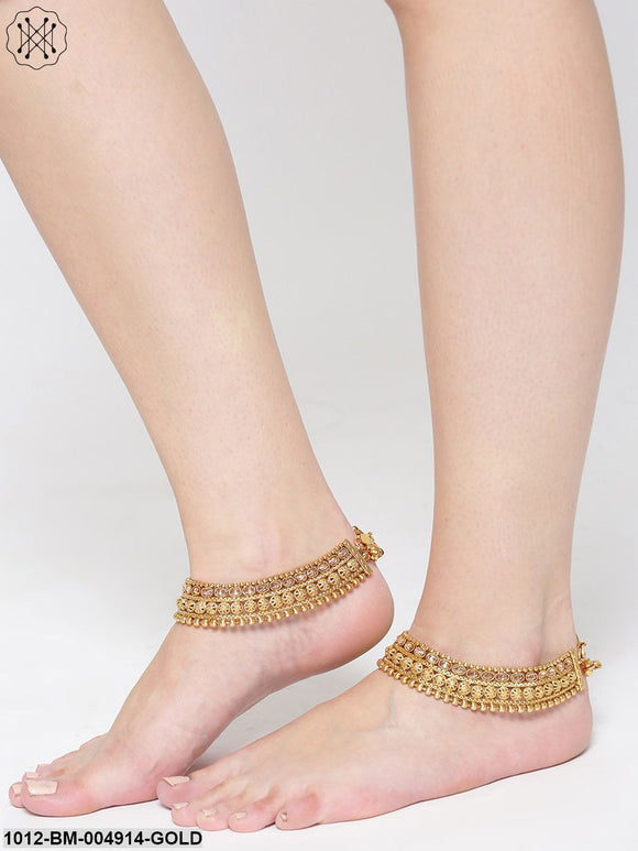Priyaasi Set Of 2 18K Gold-Plated Kundan Stone-Studded Anklets