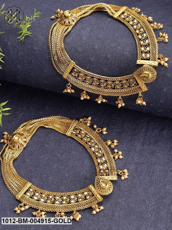 Priyaasi Set Of 2 Gold-Plated Handcrafted Multistrand Kundan Studded Anklets