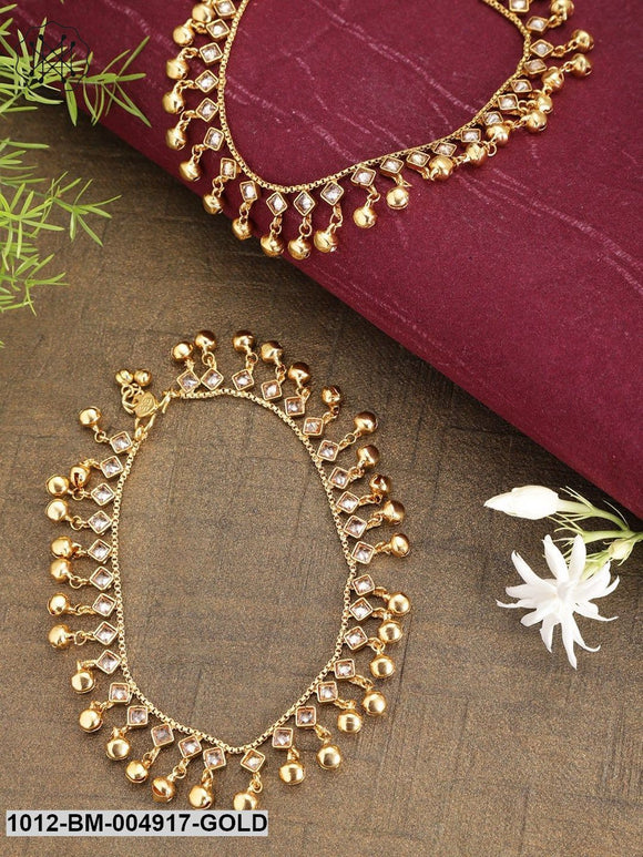 Priyaasi Women Set Of 2 Gold-Plated Handcrafted Kundan-Studded Anklets