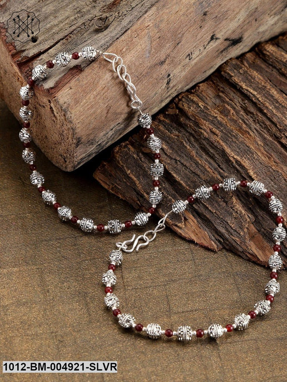 Priyaasi Set Of 2 Oxidised German Silver-Plated & Red Beaded Anklets With Silver-Plating