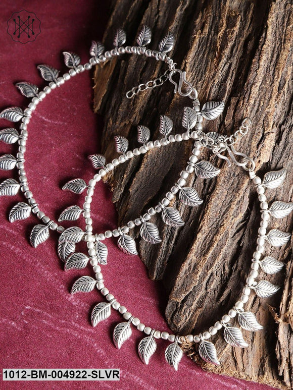 Priyaasi Set Of 2 Oxidised German Silver Beaded Anklets With Silver Plating