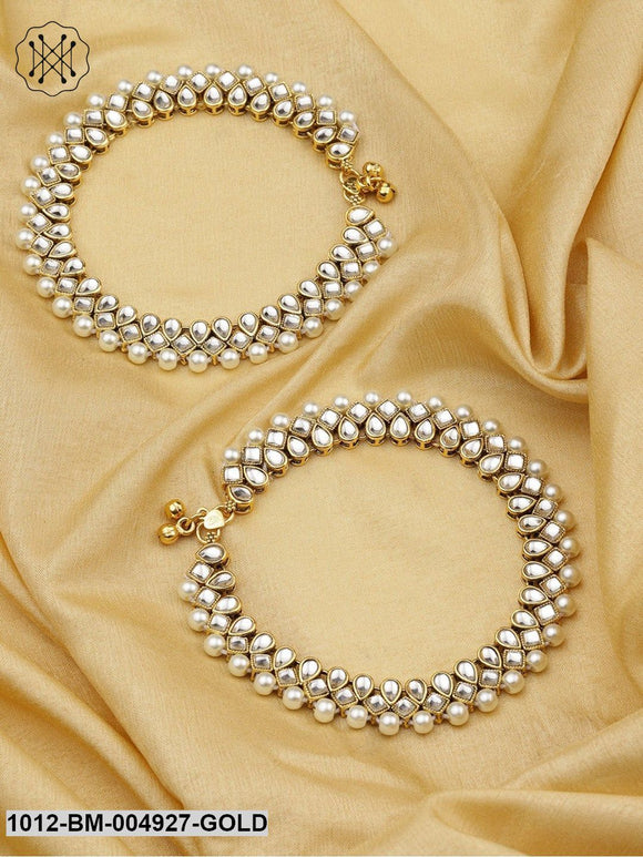 Priyaasi Set Of 2 Off-White 18K Gold-Plated Kundan-Studded  & Beaded Handcrafted Anklets