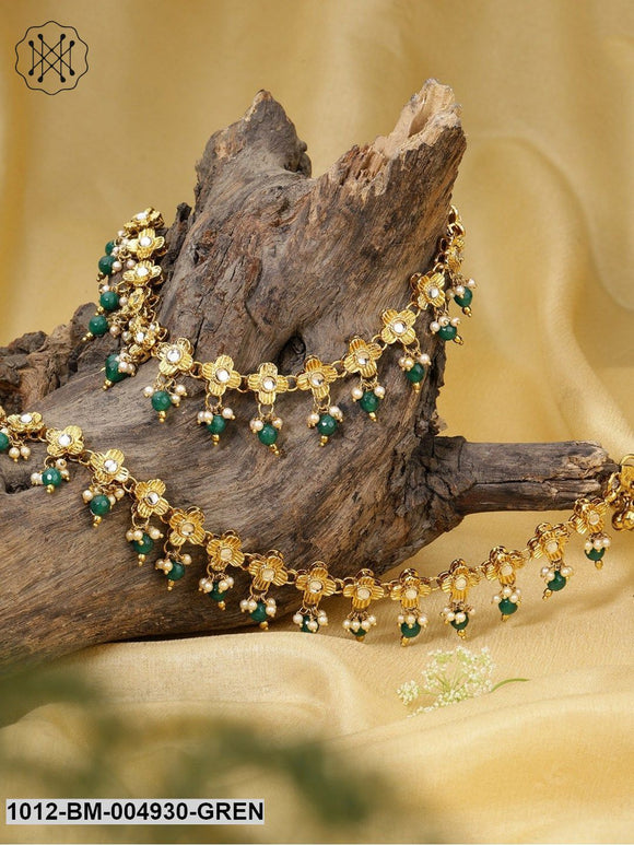 Priyaasi Set Of 2 Green 18K Antique Gold-Plated Handcrafted Kundan-Studded Anklets