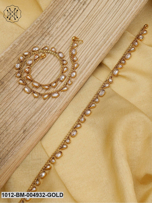 Priyaasi Set Of 2 18K Gold-Plated Kundan-Studded Handcrafted Anklets