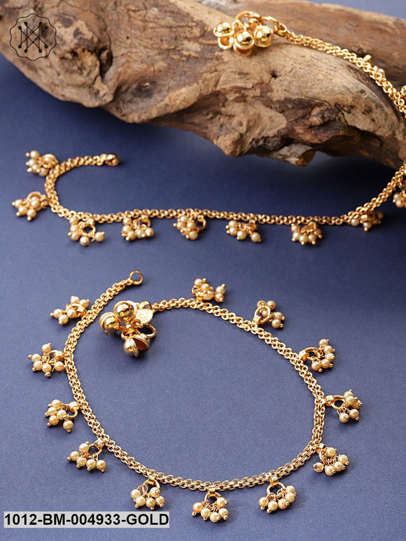Priyaasi Set Of 2 Off-White 18 K Gold-Plated Beaded Handcrafted Anklets