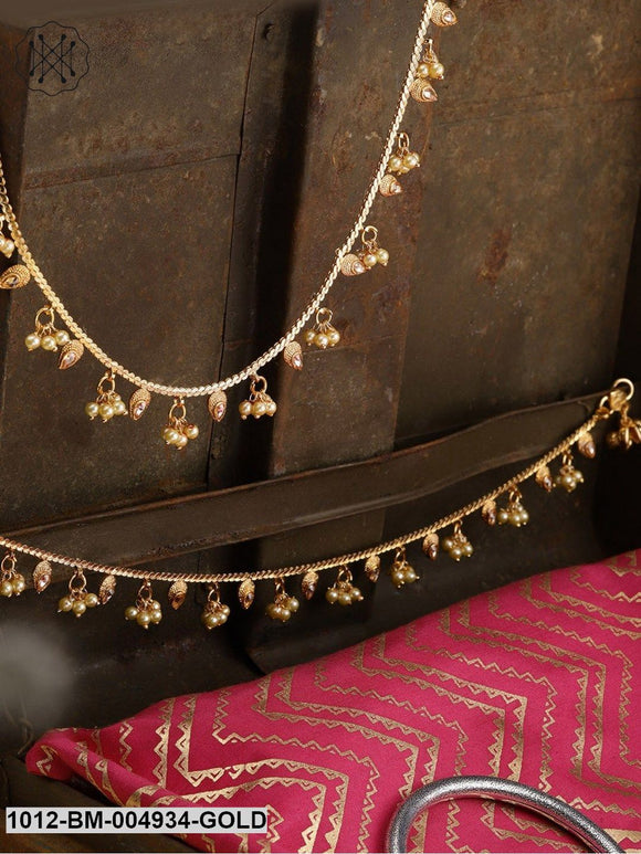 Priyaasi Set Of 2 Cream-Coloured 18K Gold-Plated Kundan-Studded Handcrafted Anklets