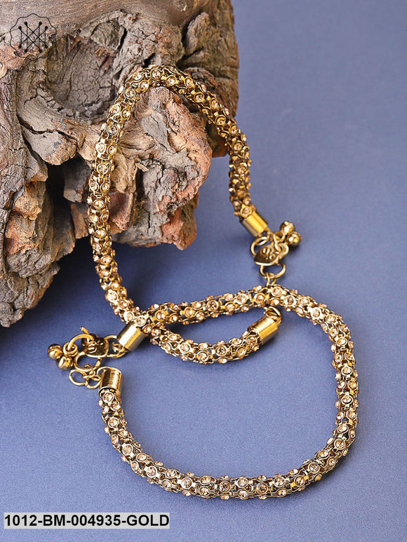 Priyaasi Set Of 2 Antique Gold-Plated Stone-Studded Handcrafted Anklets
