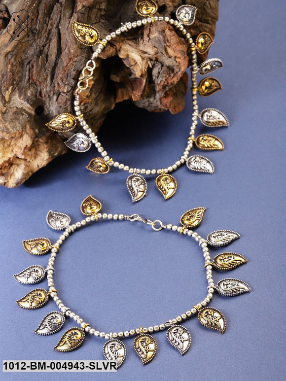 Priyaasi Set Of 2 Antique Gold-Toned & Oxidised German Silver Anklets With Silver Plating