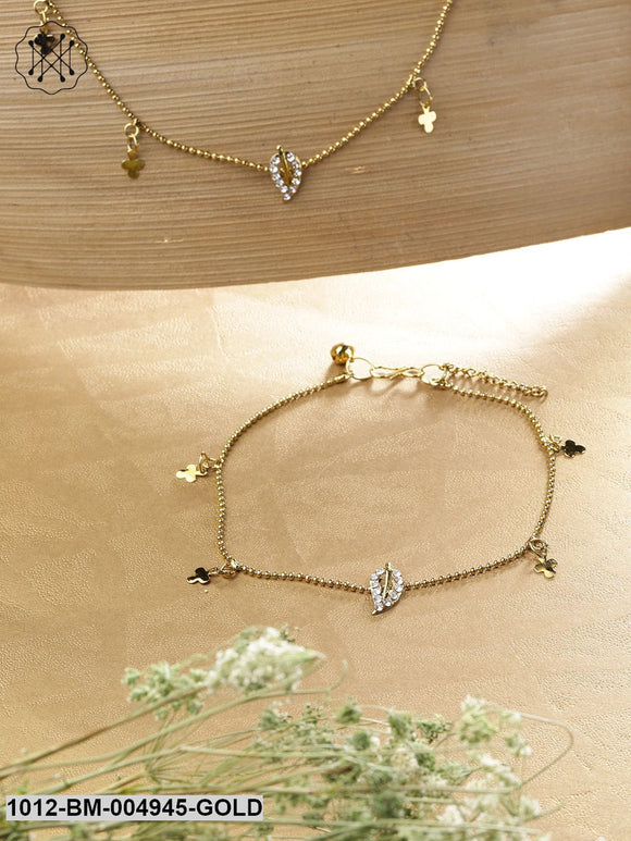 Priyaasi Set Of 2 Antique Gold-Plated Stone-Studded Leaf-Shaped Anklets