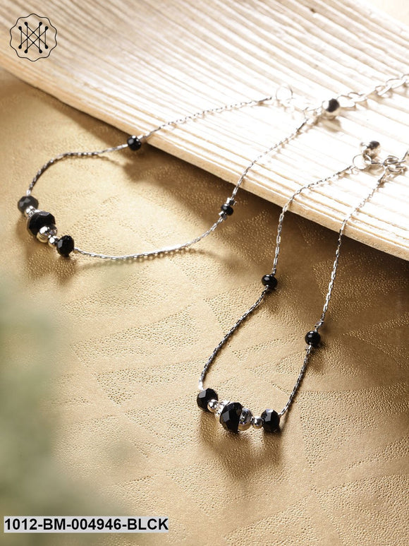 Priyaasi Set Of 2 Black Silver-Plated Beaded Anklets