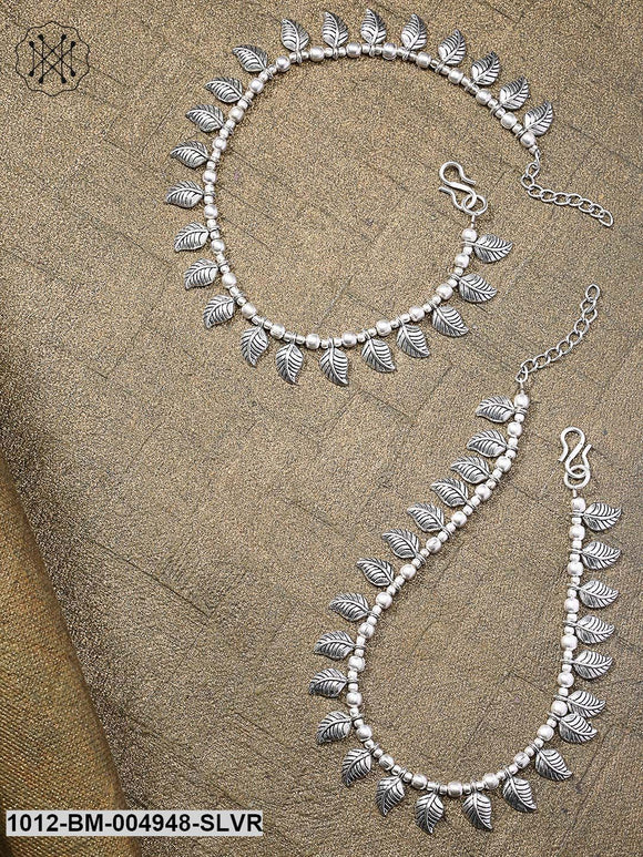 Priyaasi Set Of 2 Silver-Plated German Silver Oxidised Leaf Shaped Anklets