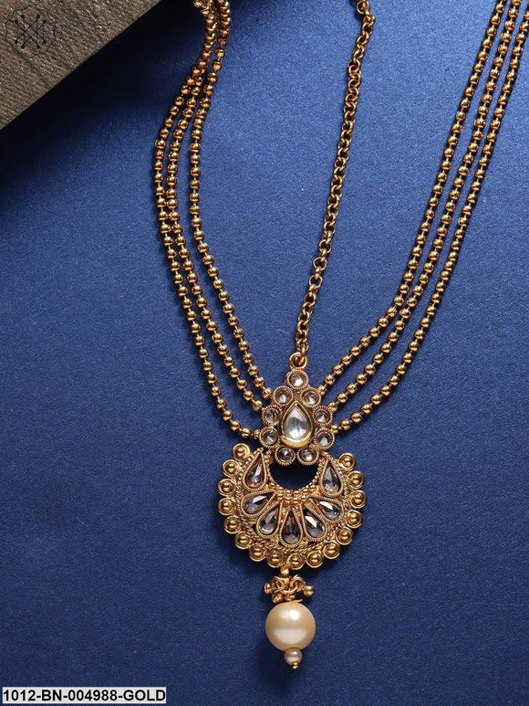 Priyaasi Gold-Plated Handcrafted Stone-Studded Multistrand Matha Patti