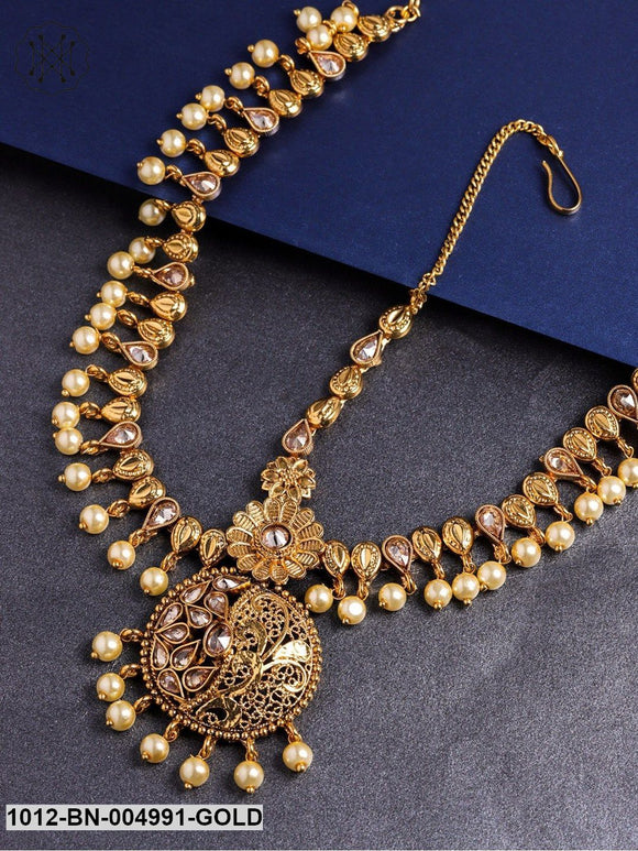 Priyaasi Gold-Plated Handcrafted Stone-Studded Matha Patti
