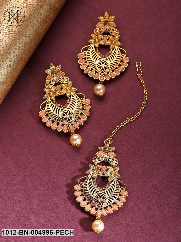 Priyaasi Gold-Plated Peach Colour Stone Studded Floral Maang Tikka With Drop Earrings Set