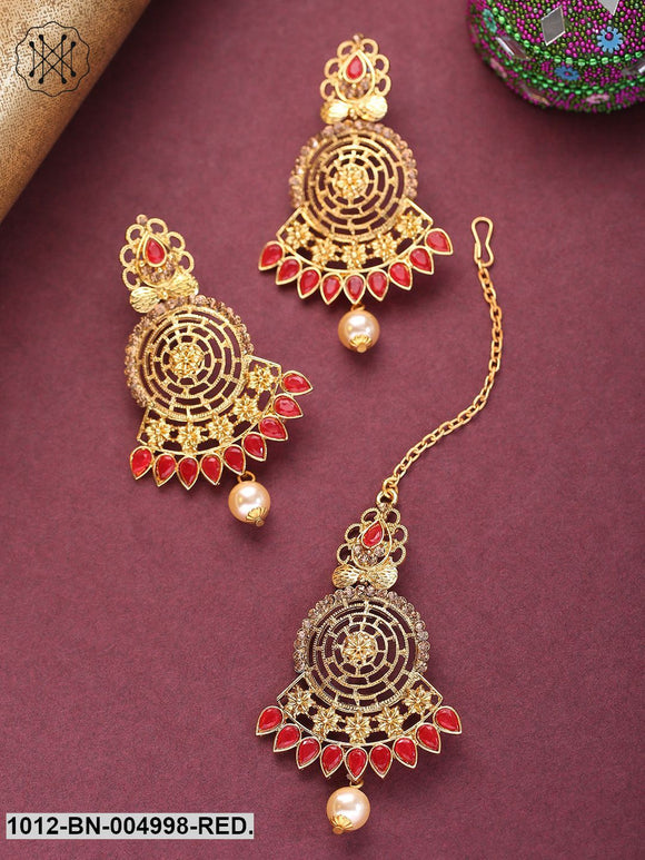 Priyaasi Red Gold-Plated Stone-Studded Handcrafted Maang Tika & Earrings Set