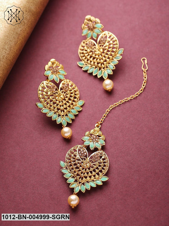 Priyaasi Mint Green Gold-Plated Stone-Studded Handcrafted Maang Tika & Earrings Set