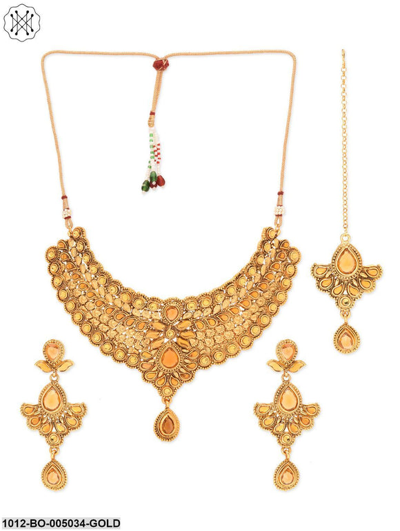 Priyaasi Traditional Ethnic Necklace Set with Maang Tikka
