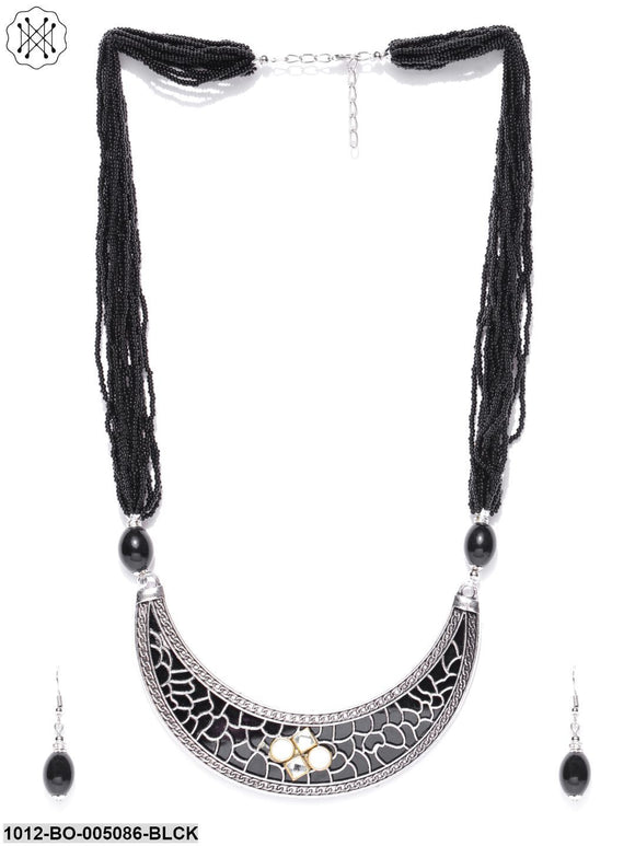 Prita Germen Silver Black Beaded Necklace Set