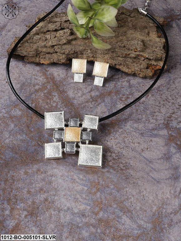 Prita Beige & Black Silver-Plated Geometric Jewellery Set