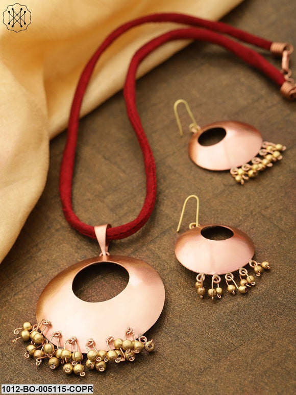 Prita Geometric Shaped Round Copper Pendant With Soft Chain And Hook Type Drop Earrings