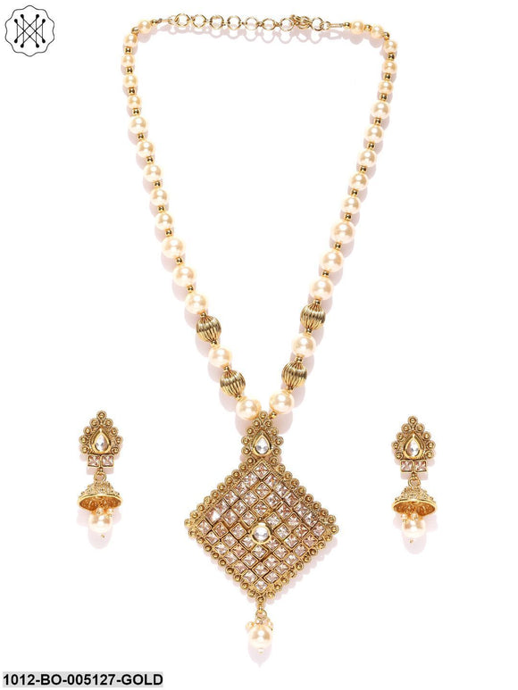 Priyaasi Gold-Toned Kundan Embellished jewellery Set