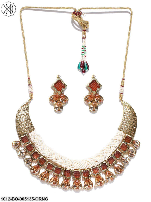Priyaasi Gold-Toned Pearl and Embellished Stone jewellery Set