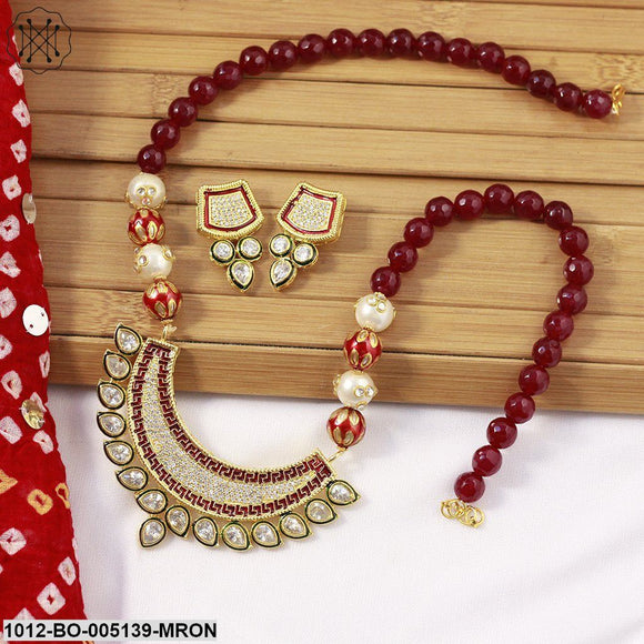 Priyaasi Maroon & Gold-Toned Kundan Stone-Studded Jewellery Set