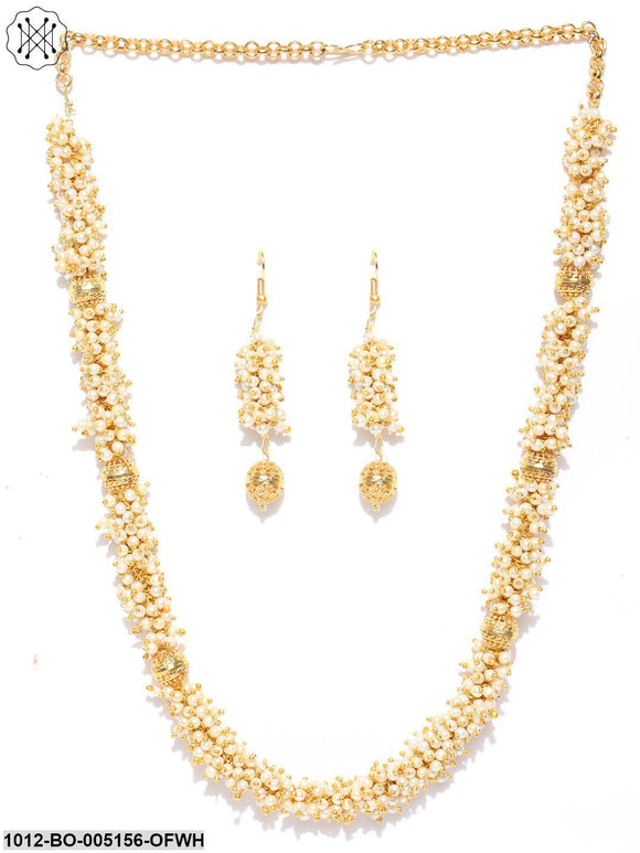 Priyaasi Exclusive Gold Plated Pearl Beaded Traditional Necklace Set