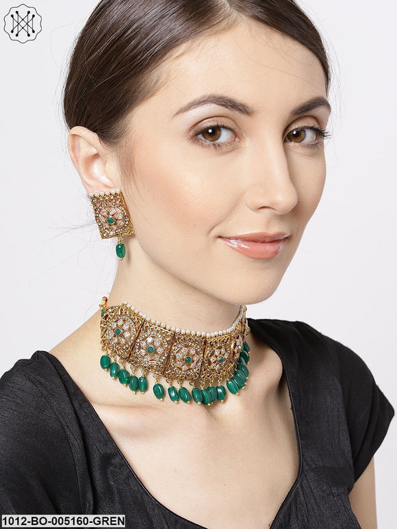 Priyaasi Green & Gold-Toned Kundan-Studded Choker Jewellery Set