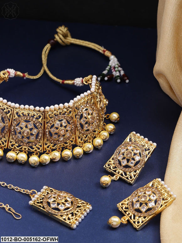 Priyaasi Cream-Coloured Antique Gold-Plated Kundan-Studded Jewellery Set