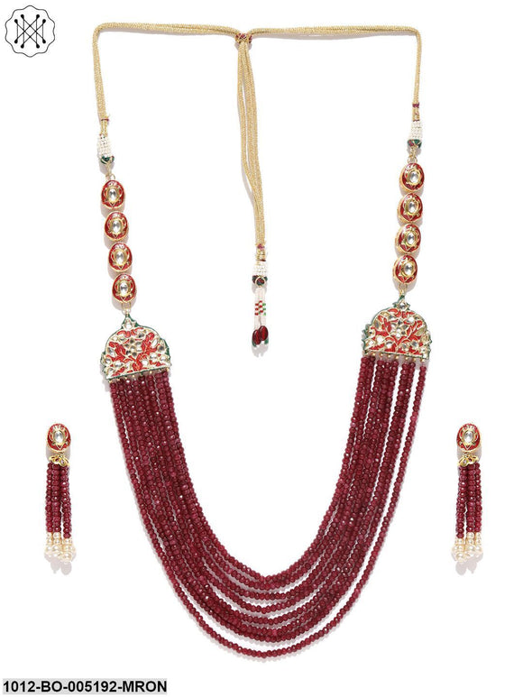 Priyaasi Kundan Maroon Stone Long Necklace Set