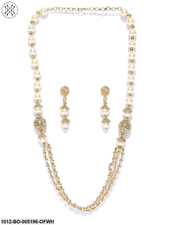 Priyaasi Gold Plated Long Multistrand Necklace Set