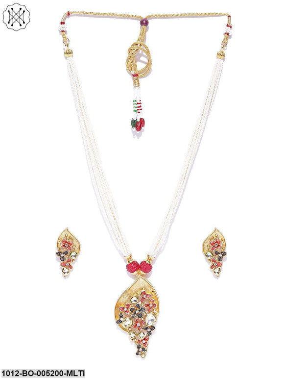 Priyaasi Maat Finish Floral Necklace Set