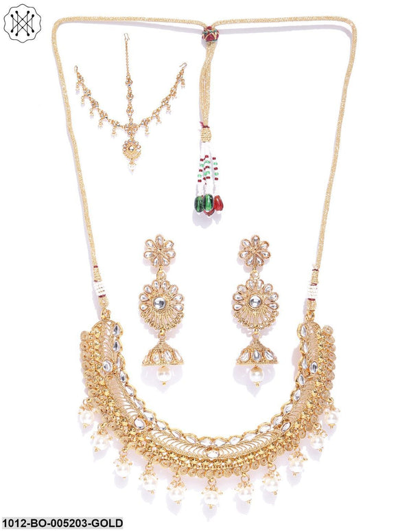 Priyaasi Designer Kundan Studded with Pearls Gold Plated Necklace, Drop Earrings and Matha Patti Traditional Jewellery Set