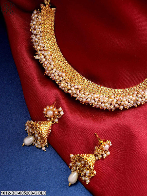 Priyaasi Designer Off-White Gold-Plated Beaded Handcrafted Jewellery Set