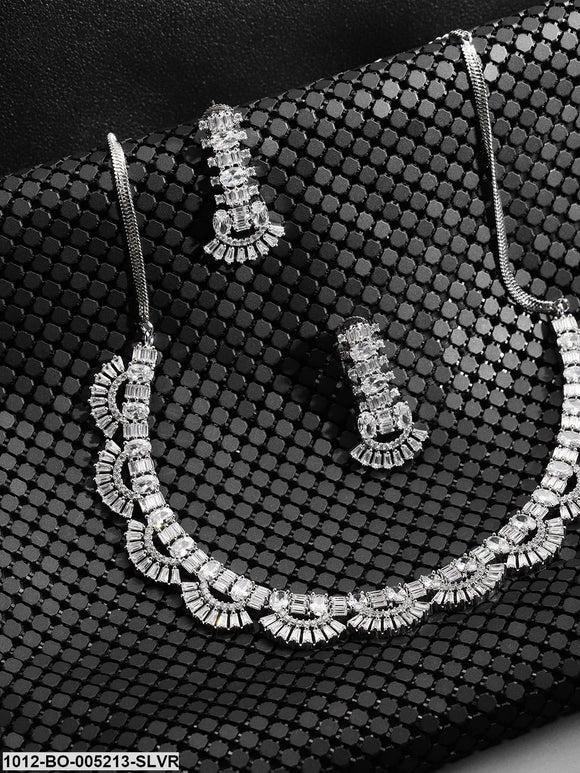 Priyaasi Silver-Plated American Diamond Studded Jewellery Set