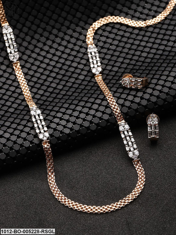 Priyaasi Rose Gold-Plated American Diamond Studded Jewellery Set