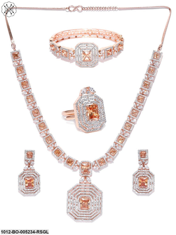 Priyaasi Sparkling American Diamond Rose Gold Collar Necklace With Designer Drop Earrings, Bracelet And Ring